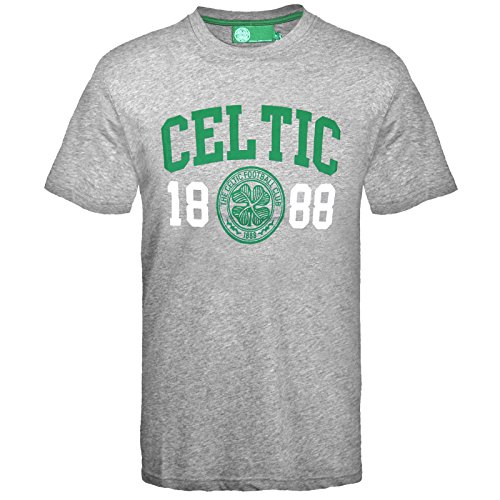 Celtic FC Official Football Gift Mens Graphic T-Shirt Grey Small
