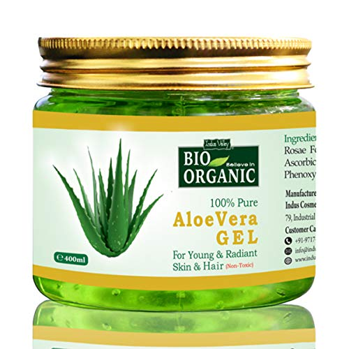 Indus Valley Bio Organic Non-Toxic Aloe Vera Gel for Acne, Scars, Glowing & Radiant Skin Treatment (Jumbo Pack 400Ml)