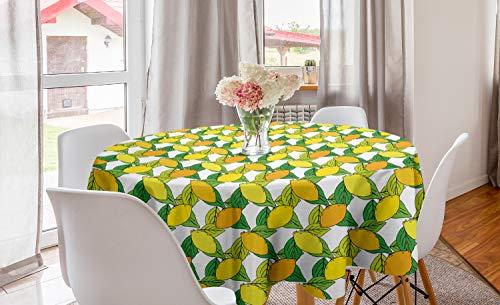 ABAKUHAUS citroenen Rond Tafelkleed, Vitamine C Citrus Drawing, Decoratie voor Eetkamer Keuken, 150 cm, Yellow Earth Yellow