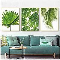 """Pintura sobre lienzo Hoja de plátano tropical Hojas de palmera frescas Cartel de planta verde nórdica Verde Imagen de la pared Decoración de la habitación 30x40cm (11.8 """"x15.7"""") x3 Sin marco"""