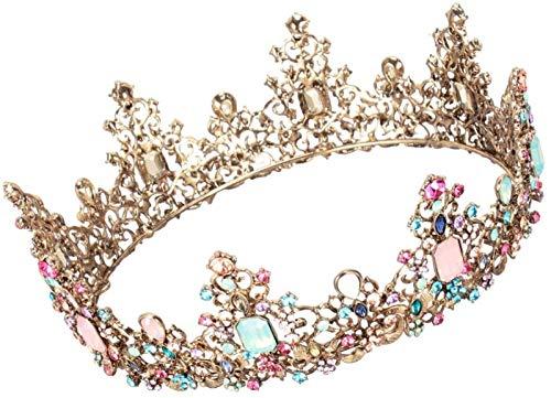 KEEBON Rhinestone Queen Crown Antique Royal Medieval Crown para la Boda Cumpleaños Pago Prop Favor de la Pastel Decoración de la Torta