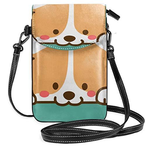 Lindo Corgi perro pequeño Crossbody teléfono celular bolso monedero teléfono monedero con correa extraíble