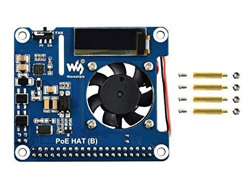 Waveshare Power Over Ethernet HAT For Raspberry Pi 3B+/4B, 802.3af-Compliant with OLED for real-time monitoring temperature, IP, and fan status