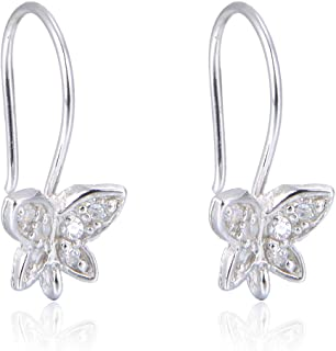 2 Pairs Beautiful Sterling Silver Butterfly Earring Hooks 19mm Ear Wire Connectors Simulated Diamond Earwire for Earrings Jewelry Making SS34