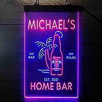 Coronas Extra Bottle Palm Tree パーソナライズされたマイホームバーの装飾 Decor LED看板 ネオンサイン バーライト 電飾 ビールバー 広告用標識 青色 + 赤色 W40cm x H60cm