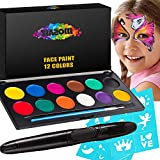 Face Paint Kit for Kids and Adults - 12 Colors Professional Face Painting Palette 30 Stencils, Brush and Pen -...