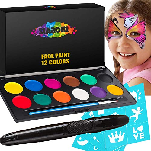 Face Paint Kit for Kids and Adults - 12 Colors Professional Face Painting Palette 30 Stencils, Brush and Pen - Birthday Gift for Girls, Kids Safe, Halloween Makeup Body Paint, Facepaint Party Supplies