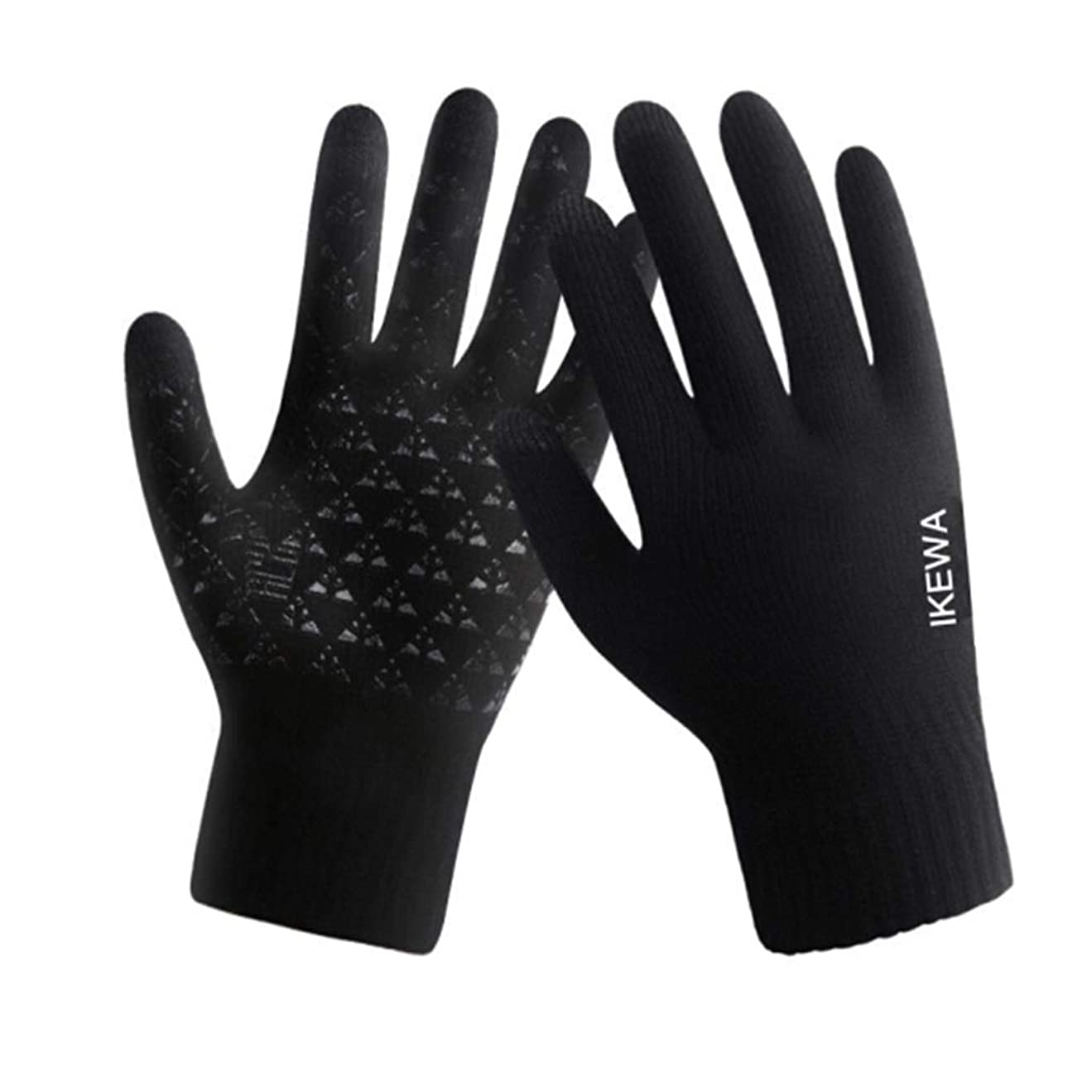 いっぱいラベル可動冬の羊毛の手袋、男性と女性、サイクリング、暖かいニット、タッチスクリーン、5本指の手袋、黒(男性)