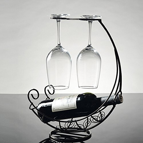 FLAMEER Porta Botella Vintage Porta Botella de Vino - Negro, 32x13x35cm