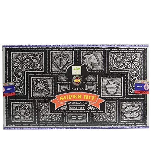 Satya Super Hit - Varillas de incienso (12 cajas, 15 g, 180 gramos en total)