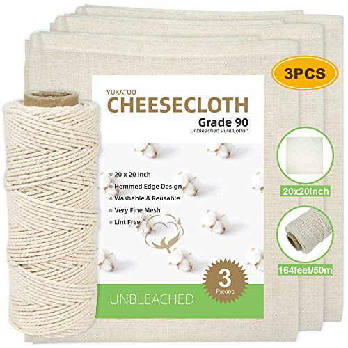 Cheesecloth and Twine, 20x20 Inch, Grade 90, 100% Unbleached Pure Cotton Muslin Cloth for Straining, Ultra Fine Reusable Hemmed Edge Cheese Cloth Fabric Filter for Cooking, Nut Milk Strain (3 Pieces)