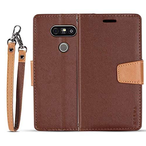 JEEXIA® Schutzhülle Für LG G5 / LG G5 SE, Retro PU Lederhülle Flip Cover Brieftasche Innenschlitzen Mit Stand Doppelte Farbe Ledertasche - Brown