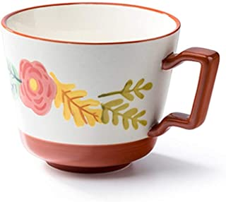 Coffee Cup Home Flower Ceramic Milk Cup with Handle Temperature Resistant Tea Cup Milk Cup Coffee Cup for Home Office Moth...