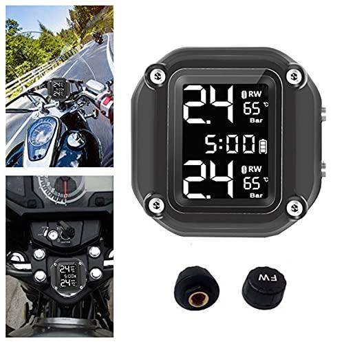 """Sistema de monitoreo de presión de llantas, detector TPMS de motocicleta con pantalla LCD de 1.5 """", sistema de monitoreo de manómetro de presión de llantas inalámbrico IP67 a prueba de agua con 2 sens"""