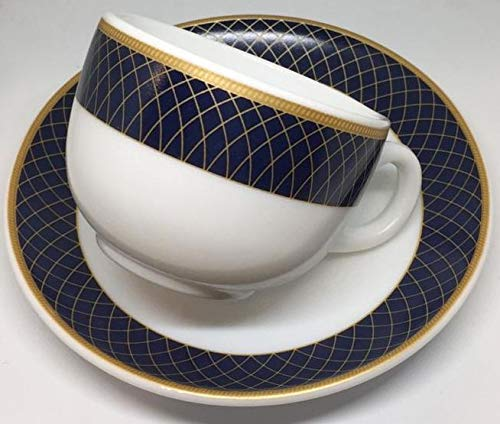 Diva From La Opala Regent Blue Sovrana Collection Opalware Cup and Saucer Set, 6 Pieces, White, Standard (DV/SVR/RBCS/06)