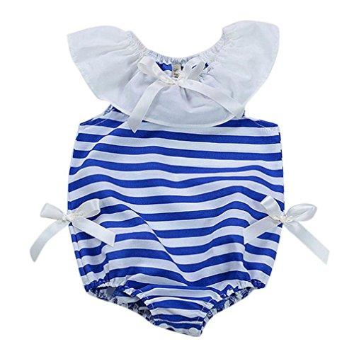 SAMGU Bébé Bambin Baby Fille Arc Rayé Bodysuit Romper Combinaison Tenues Vêtements