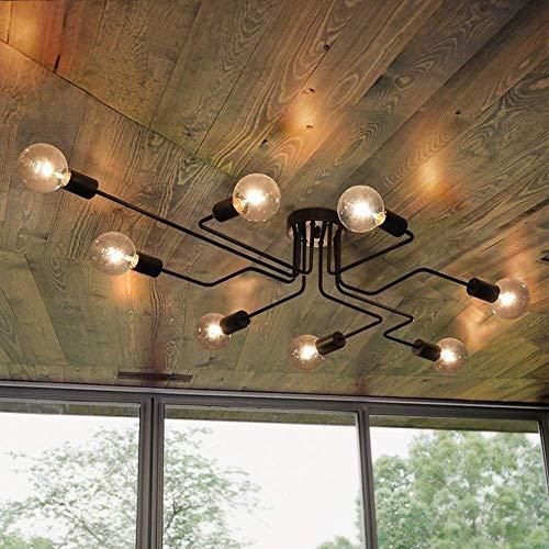 BINHC Lámpara de Techo Tipo Araña, Lámpara de Techo Retro Lámpara de Techo de 8 Luces Lámpara Industrial E27 Asiento de Lámpara Sala de Estar Dormitorio Restaurante Pasillo Bar Café