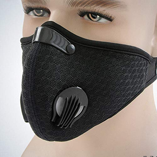 KKmoon Dust Mouth Cover with Air FilterSport Cycling Running Training Cover Reusable Carbon Filtration Workout Motorcycle Breathable Mouth Protective CoverBlack