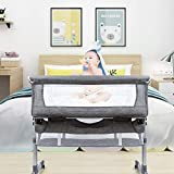 Lamberia 3 in 1 Bassinet for Baby, Easy Folding Co-Sleeper with Mattress Included, Height Adjustable Bedside Travel Crib for Newborn Infant/Baby Boy/Baby Girl (Grey)