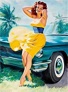 1940s Pin-Up Girl in The Yellow Dress Picture Poster Print Art Pin Up. Poster Measures 10 x 13.5 inches