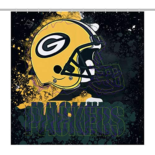 VF Green Bay Packers Shower Curtain Decor Curtains Cover for Bathroom Water Bathing Repellent with 12 Hooks Decorations 72x72Inch (180x180cm)
