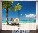 YUESUO Cortinas Opacas Para Salon Moderno Océano Playa Tumbonas Palmeras Cortinas Termicas Aislantes Con Ollaos - Dormitorio Cocina Decoracion - 2 Piezas(An X Al) 100 x 160cm