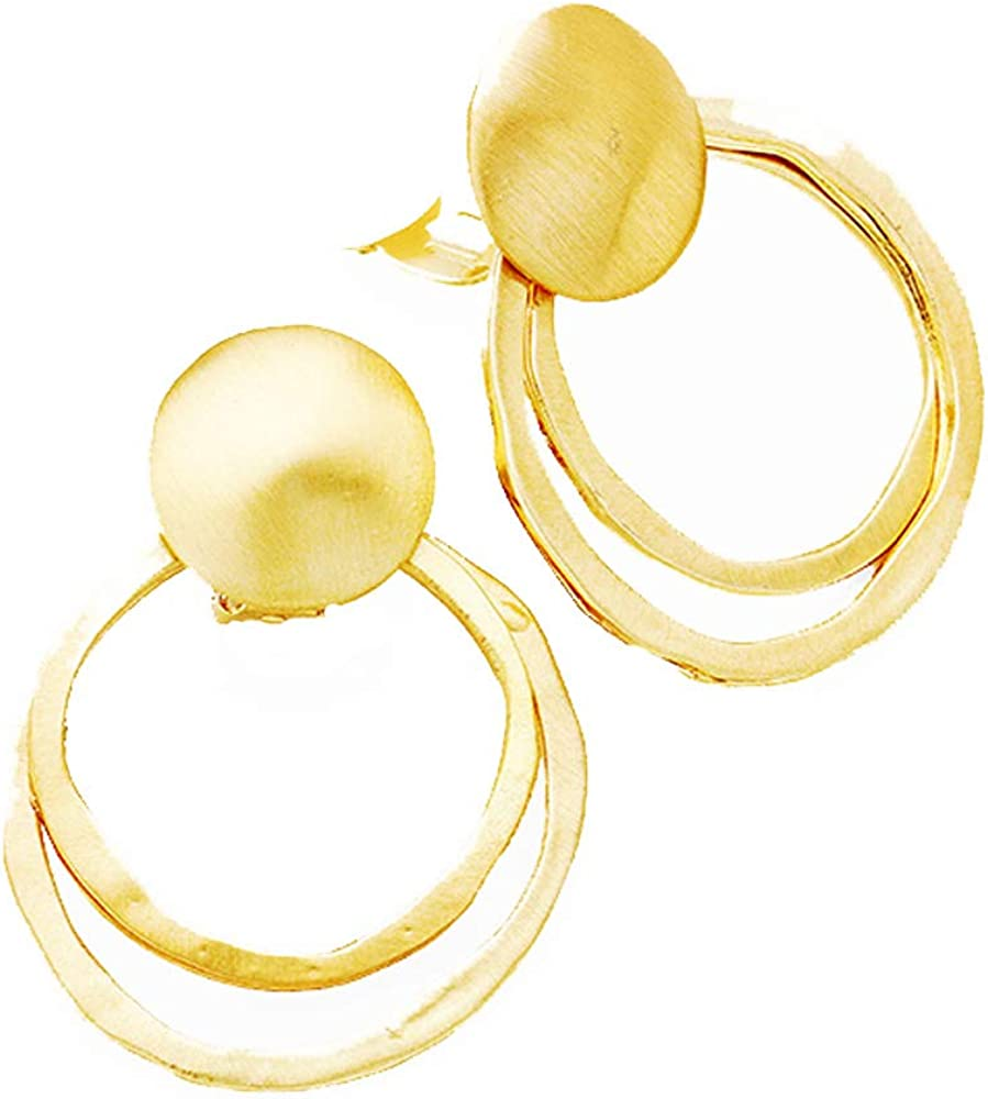 Modern Matte & Shiney Goldtone Double Circle Dangle Clip On Non Pierced Earrings 1.75 in