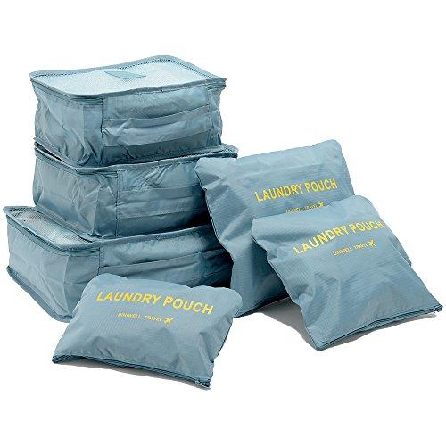 トラベルポーチ6点セット メンズ レディース 旅行 旅行用品 トラベルグッズ 海外旅行 便利グッズ 収納 整理整頓(ブルーグレー)