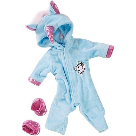 TOPofly Bebé Ropa de la muñeca, 18 Juegos Pulgadas muñecas Unicornio del Mono con los Zapatos, Traje de muñeca Accesorios niños Azul