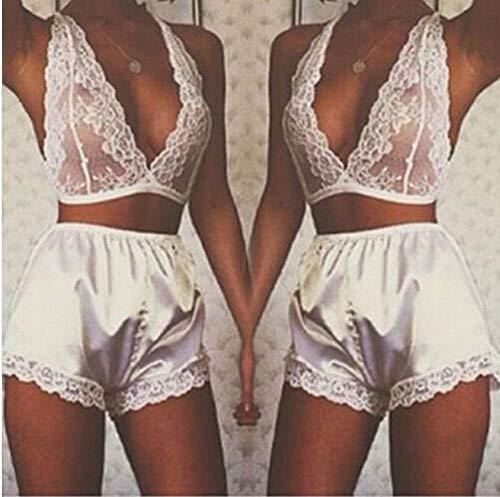 Bodysuits voor damesDames Lingerie & Ondergoed Dames body Dames ondergoed kanten hangende hals met korte broek sexy ondergoed sexy wit_S