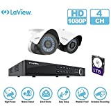 LaView IP 1080P HD Built-in PoE 2 Cameras 4 Channel NVR Security Camera System with 1TB and 2 of 2MP Bullet Cam Surveillance