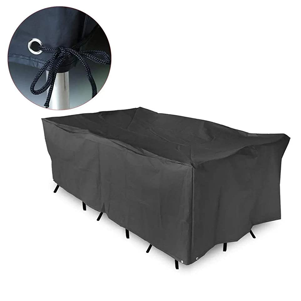 ヘビー飛行場やけどファニチャーカバー 防水防塵テーブルチェアガーデンパティオの家具カバーBBQプロテクター 防水 防塵 防風 日焼け止め (色 : Black, Size : 200x160x70cm)