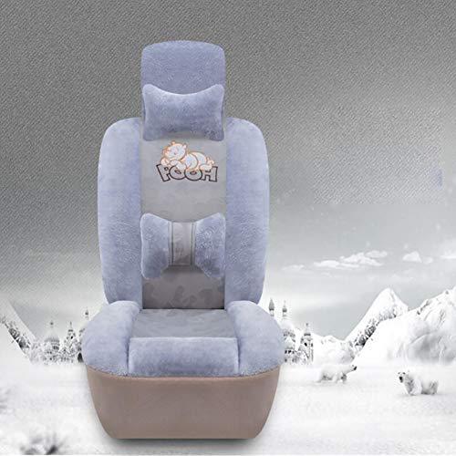 BOYH Winter Kurzer Plüsch Warm halten,Schaffell Auto Sitzbezug,Netter Waschbär,2 Farben,Gray