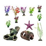 H HILABEE 12 Paquetes de Adornos de Acuario Artificial Planta de Estrella de Mar Estatua de Tanque de Peces