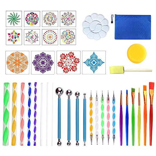 Anyasen Mandala Dotting Tools Set 39 Stück Dotting Tools Mandala Dotting Mandala Rock Punktierung Werkzeuge Rock Malerei Werkzeuge mit Schablonen für DIY Malerei Polymer Clay Handwerk