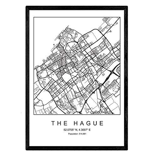 Nacnic Lámina Mapa de la Ciudad The Hague Estilo nordico en Blanco y Negro. Poster tamaño A3 Sin Marco Impreso Papel 250 gr. Cuadros, láminas y Posters para Salon y Dormitorio