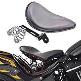 "KaTur Schwarz Leder Solo Seat 3 ""Federbock Kit Für Harley Harley Honda Kawasaki Suzuki Sportster Bobber Chopper"