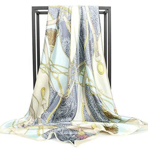 CHENGWJ Sjaal zijde dame Mode Foulard Satijn Sjaal Sjaals Grote Maat 90 * 90Cm Vierkante Zijde Haar/Hoofd Sjaals Vrouwen Bandana 1 Pc