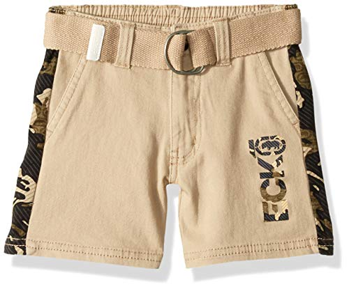 Ecko Boys' Toddler Belted Twill Short, Side Camo Print Brown Rice, 2T