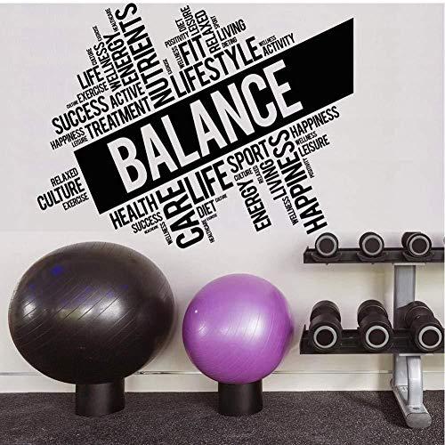 Wandaufkleber Große PVC Wandtattoo World Cloud Lifestyle Balance Energie Kultur Wandaufkleber für Gym Moderne Dekoration Wohnzimmer 57X73 Cm