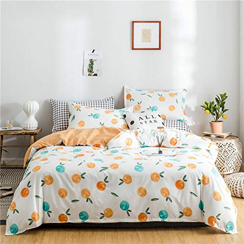 DTBDWOSVSingle Duvet Cover Cartoon Fruit Orange 3 Pieces Printed Bedding Set With Zipper Closure Hypoallergenic Soft Microfiber Quilt Cover Set For Adults Teens Boy Girl Bedding135X200 Cm