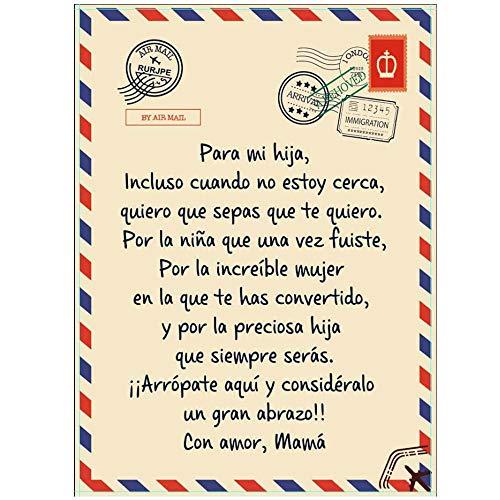 HHTT Manta de Franela Manta Letras mamá alienta y ama para Hijo/Hija Tablero de Mensajes Personalizado Manta,Regalo Muy Ideal,To Daughter,150 * 200cm