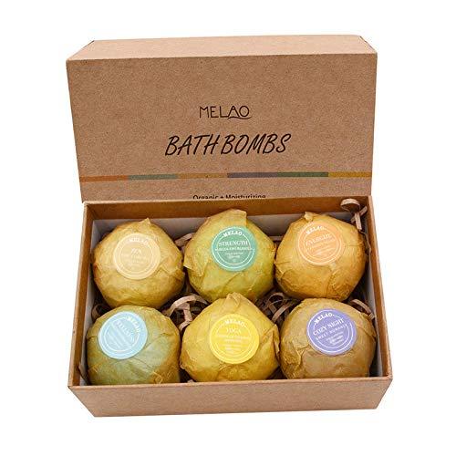 BoBoHome 6Pcs Bath Salt Exfoliating Moisturizing Bubble Bath Bombs Ball Essential Oil Effervescent Bath Bombs