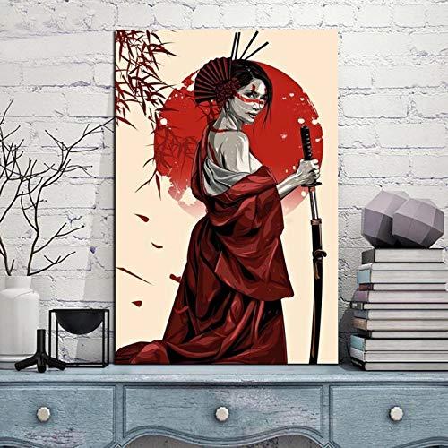 N/A Wandbilder Dekoration Plakat Und Drucke Schriftrolle Malerei Leinwand Kunstdrucke Wandkunst Bilder Wohnzimmer Schlafzimmer Wohnkultur Ruby Geisha Warrior Deko Natur Landschaft