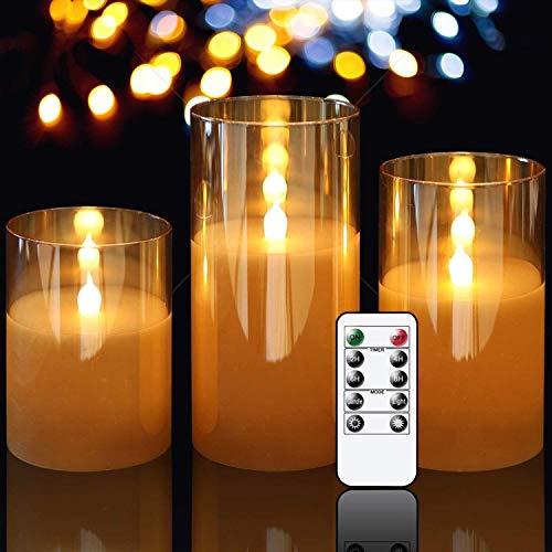 ICDOT Mirror Led Kerzen mit Timerfunktion,4in 5in 6in 3er Set LED Kerzen,Flammenlose Kerzen im Glas,Batteriebetriebene elektrische Kerzen mit beweglichen Wick Dancing Flames