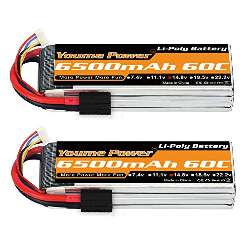 Youme 4S Lipo Battery, 14.8V Lipo 4S 6500mAh 60C with Tracxas Plug for Tracxas Slash X-Maxx RC Buggy Truggy Crawler Monster Car ,Helicopter,Airplane (2Packs)