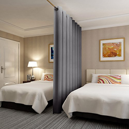 Rose Home Fashion RHF Privacy Room Divider Curtain 8.5ft Wide x 9ft Tall: No one can See Through, Total Privacy(8.5x9 Dark Grey)