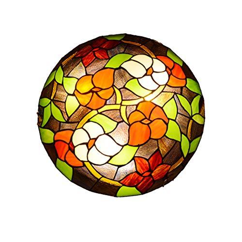 Plafonnier en Verre de Jardin Rétro,Lampe de plafond pastorale créative en verre teinté de style Tiffany, plafonniers ronds de la chambre des enfants, éclairage de plafond pour le balcon de la cha