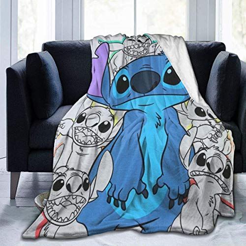 KJHSJ Mantas para Sofas, Lilo and Stitch Super Soft Fluffy Microfiber Fleece Throw Warm Fluffy Plush Hypoallergenic Blanket for Bed Couch Chair Fall Winter 50 x40