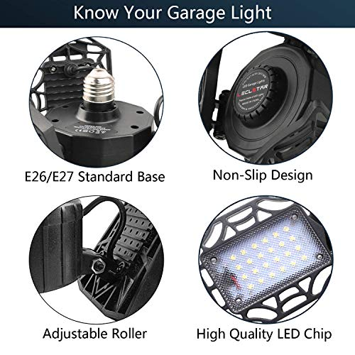 LED Garage Lights 120W - 12000LM Garage Lights Ceiling LED, 6000K Four-Leaf Deformable LED Garage Lighting Fixture with Adjustable Multi-Position Panels, Best for Garage, Workshop 3